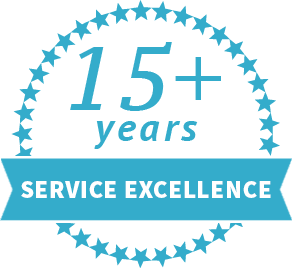 15+ years service excellence