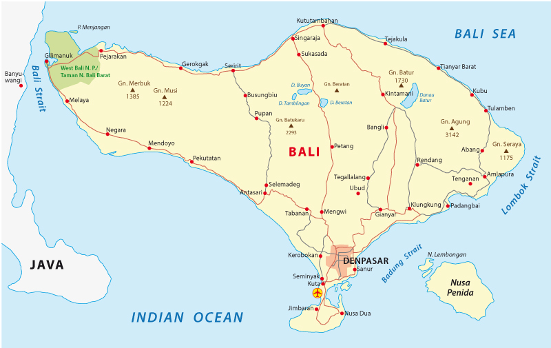 Bali on the map