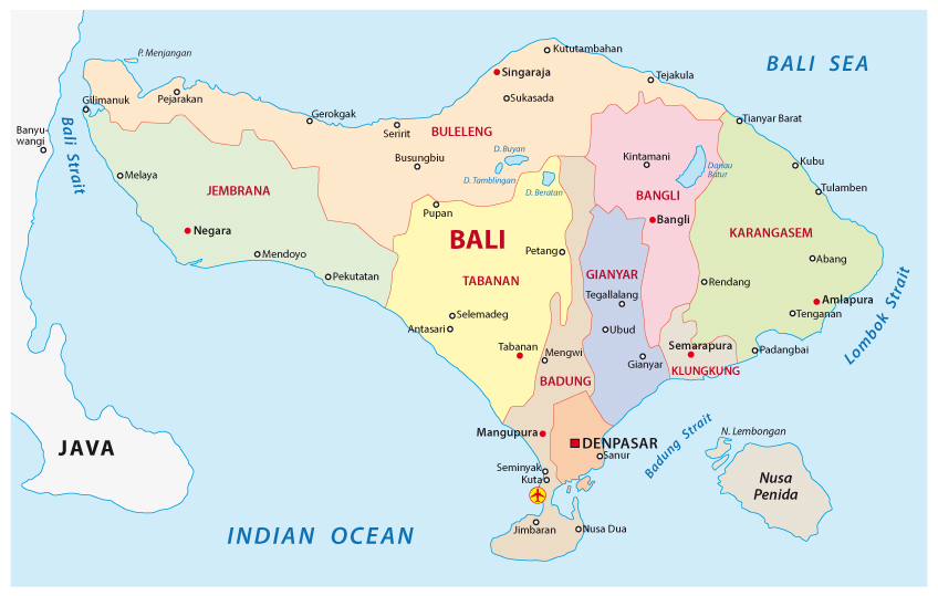 The most popular areas in Bali are in the South and Central regions of the island