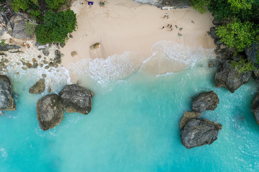 Drone shot of a beach in Bali
