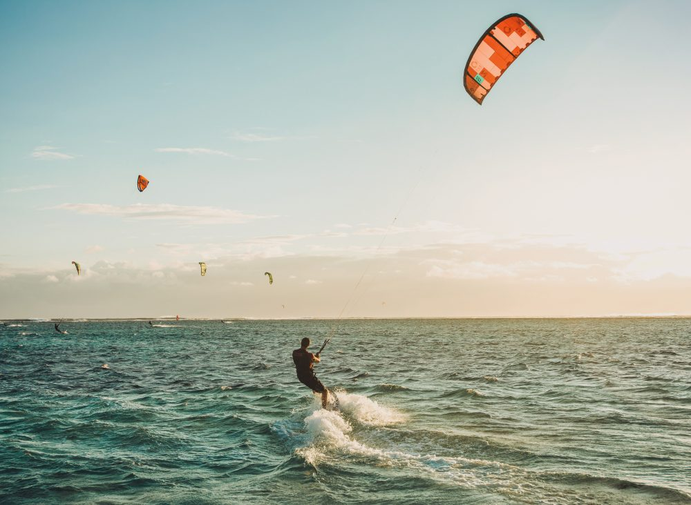 Sanur is the perfect place to try kitesurfing.
