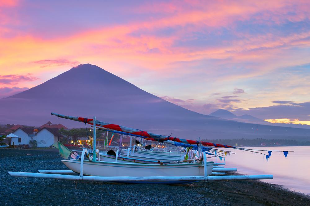 Jemeluk Bay has stunning views of Mt. Agung at sunset.