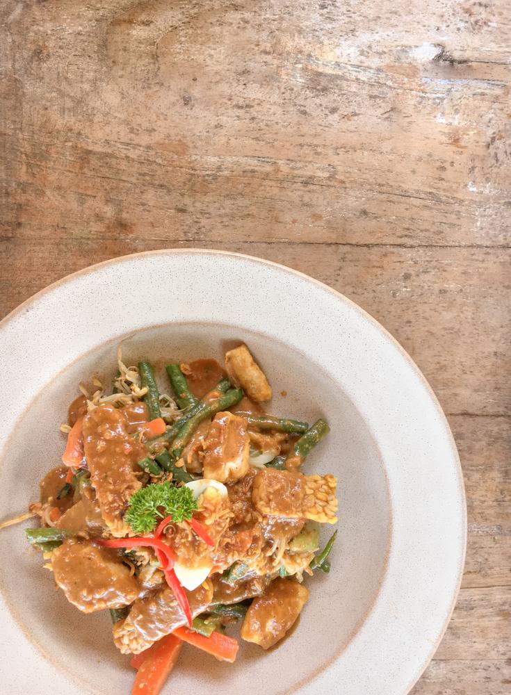 Gado Gado; a mix of seasonal vegetables in a rich peanut sauce.