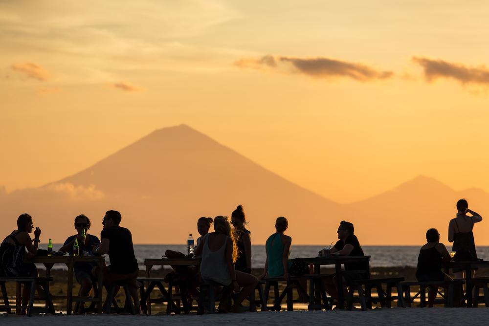 Many beachside restaurants in Gili Trawangan have sensational views of Mt. Agung
